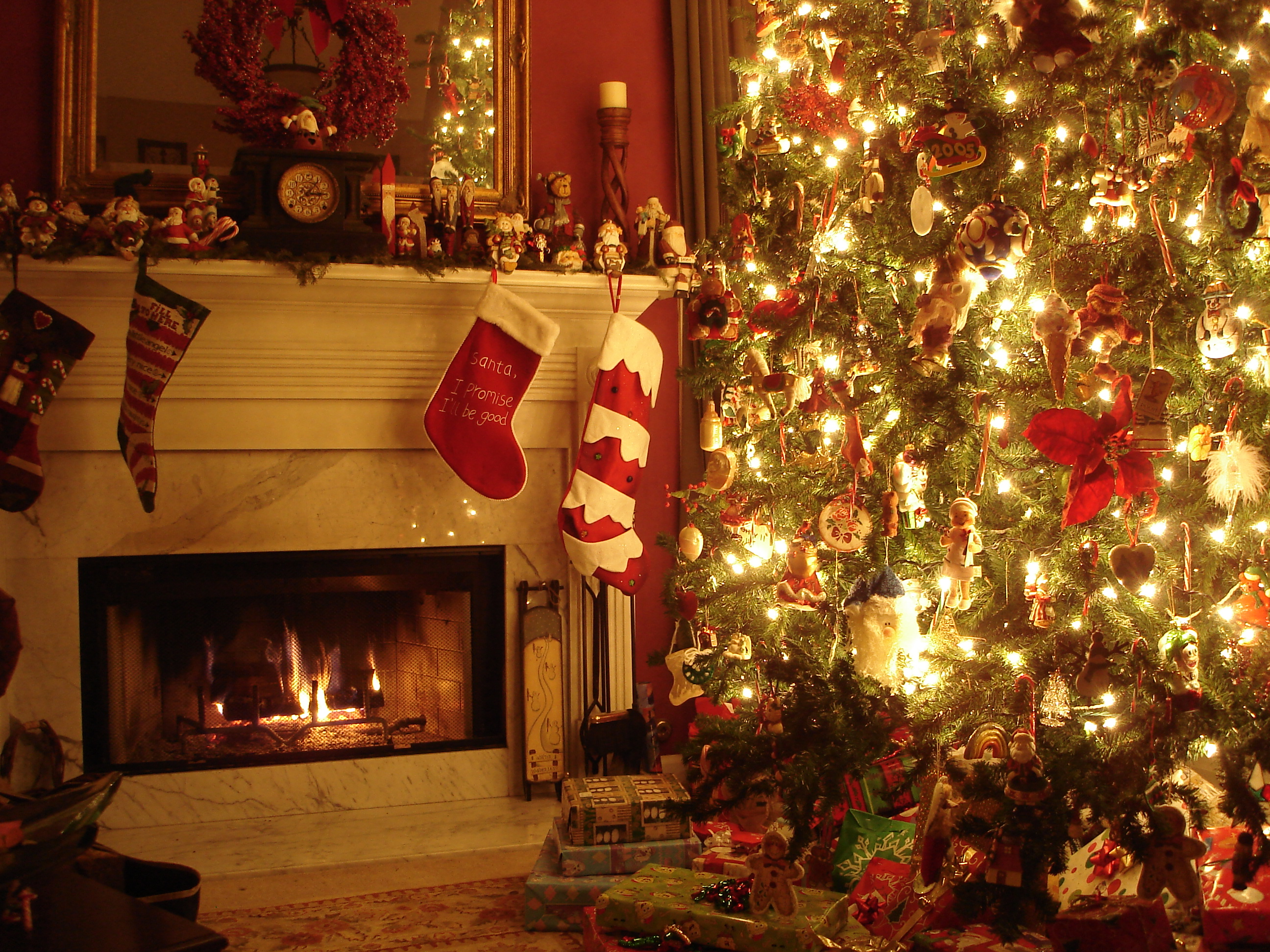 Cozy Christmas in front of a fire