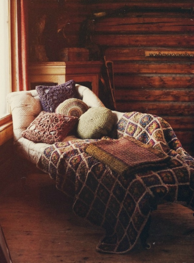 Rustic bedding ona comfy sofa for cuddling up