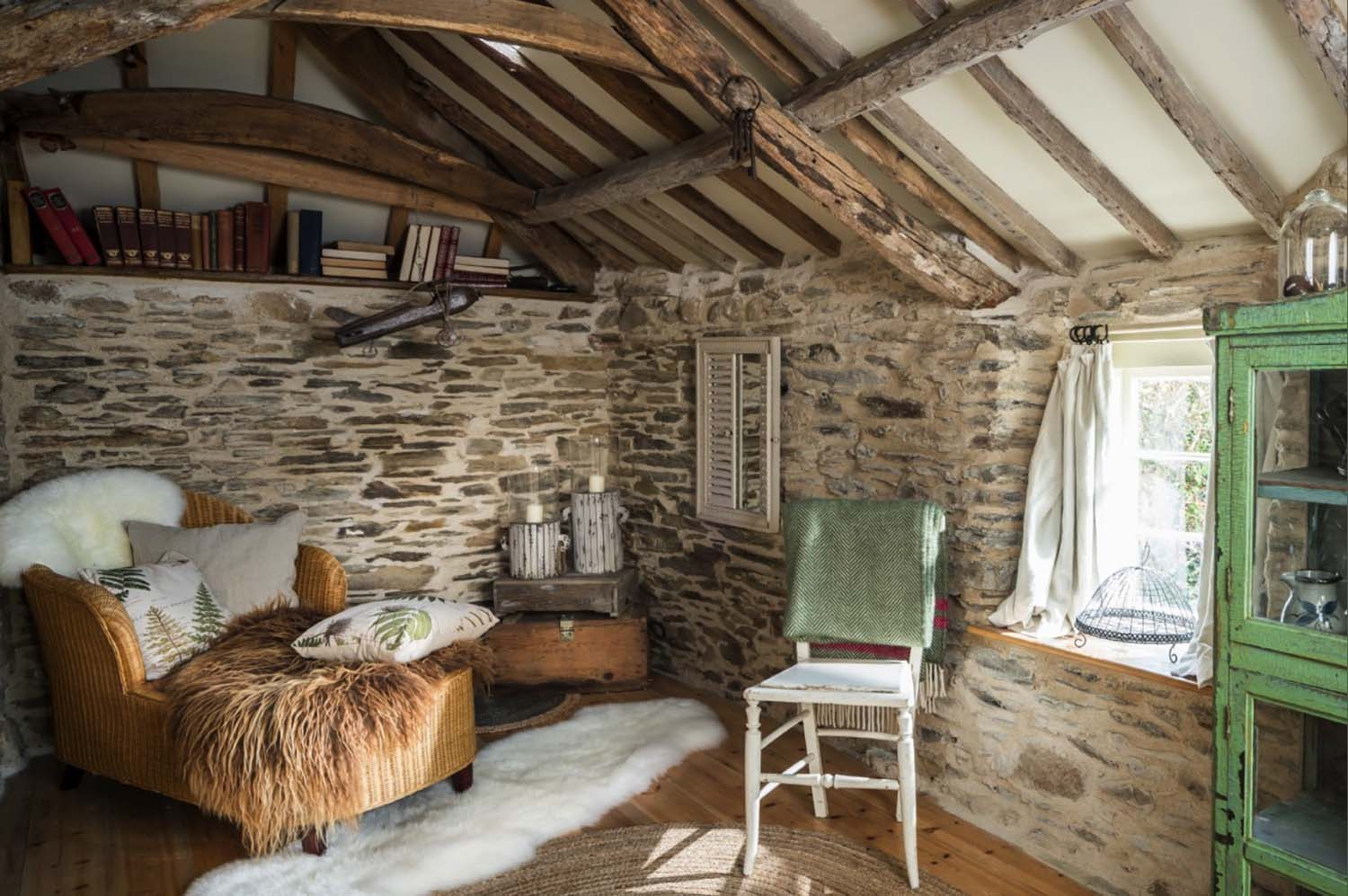 reading nook in a traditional english cottage