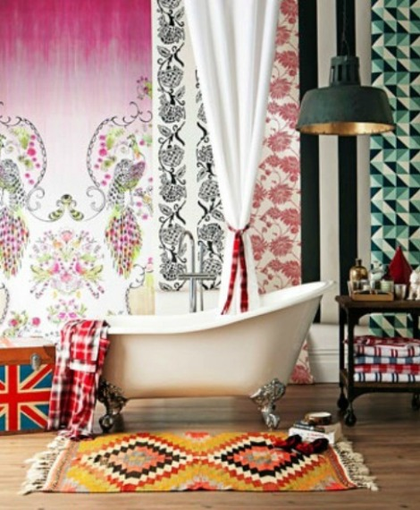 Bright and colorful bohemian bathroom