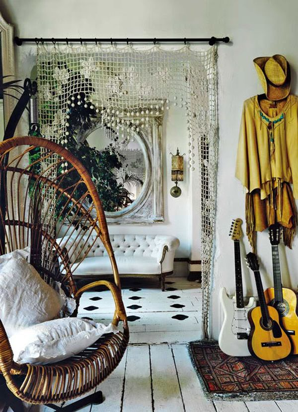 Fun boho interior with cozy chair for daydreaming